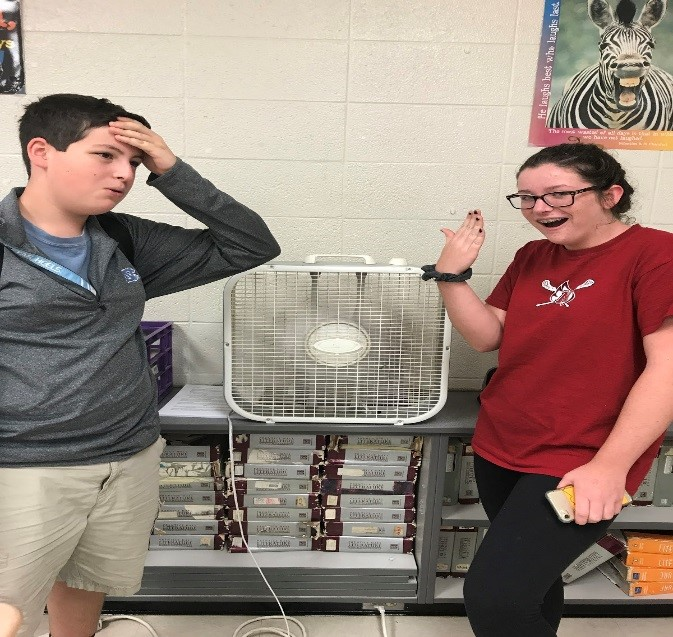 Sanderson students Tyler Adams and Cashel Gattens are burning up in room 212.