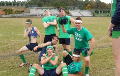 Guys at Leesville Road High School provide hilarious entertainment to Powderpuff participants and fans as they cheer on the sidelines.