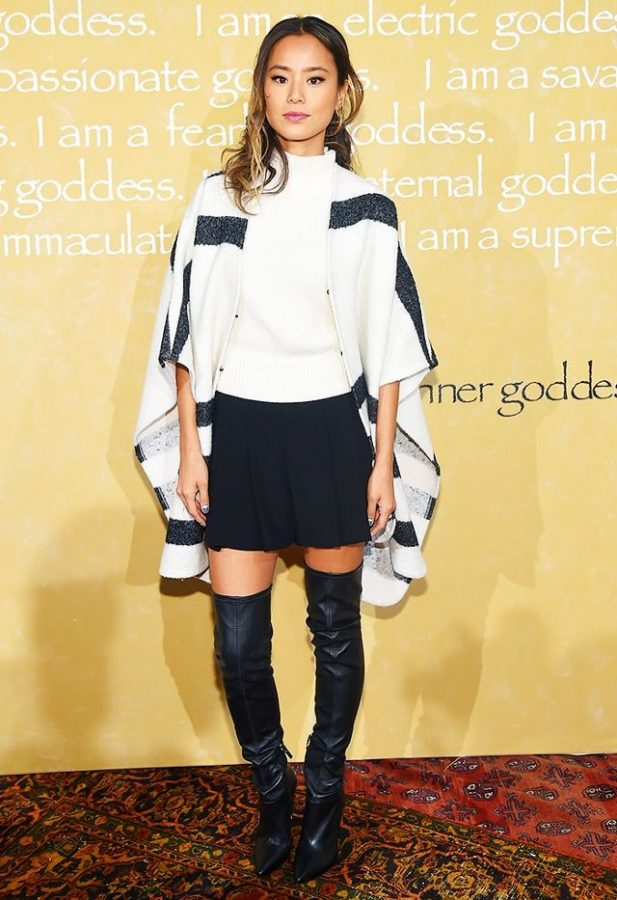 Jamie+Chung+works+to+make+the+unwieldy+over-the-knee+boots+look+appealing.%0A