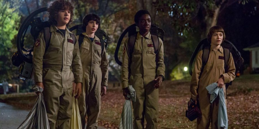 "(L to R) Matarazzo, Wolfhard, McLaughlin and Schnapp in season two of ""Stranger Things."""