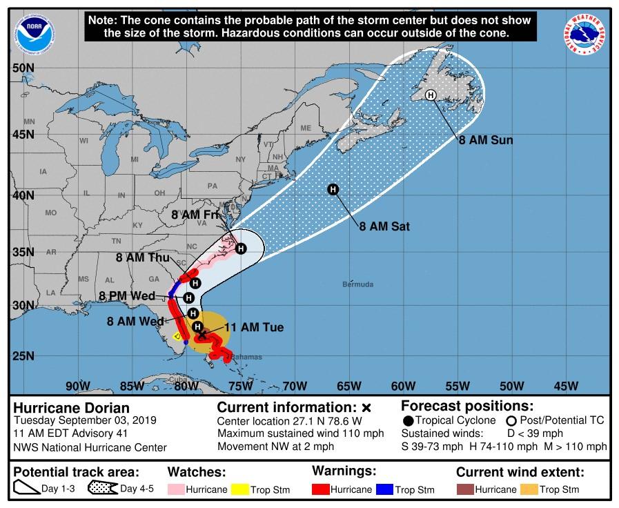 Hurricane Dorian's track according to the National Hurricane Center.