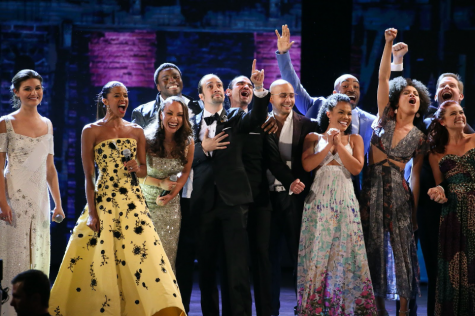 The original cast of Hamilton celebrating at the 2016 Tony Awards.