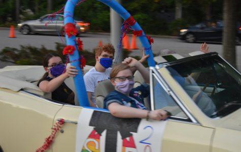 Seniors celebrating the start of the school year in the senior parade.