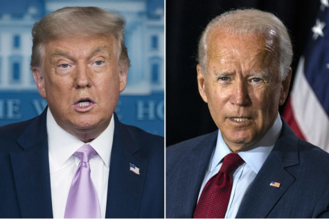 Trump and Biden engage in debate.