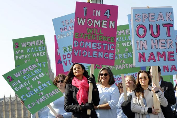 Women protest against domestic violence.