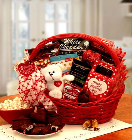 A specially decorated Valentine's Day gift basket.
